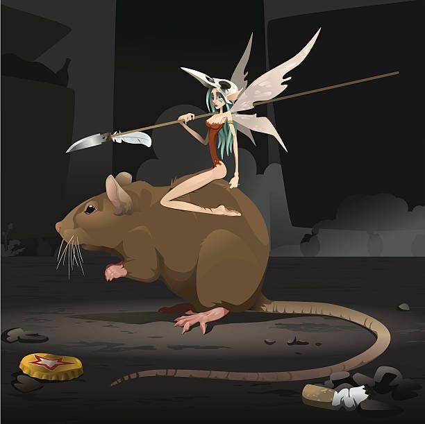 bildbanksillustrationer, clip art samt tecknat material och ikoner med urban fairy and rat - gränd