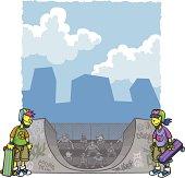 Urban Kids With Skateboards