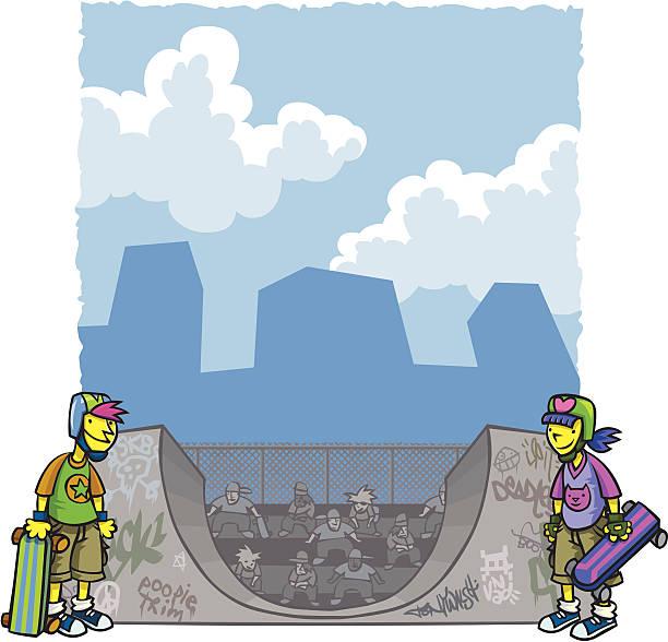 bildbanksillustrationer, clip art samt tecknat material och ikoner med urban kids with skateboards - skatepark