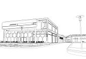 Abstract 3D blueprint sketch of an urban scene. White background. Concept - modern city, modern architecture and designing