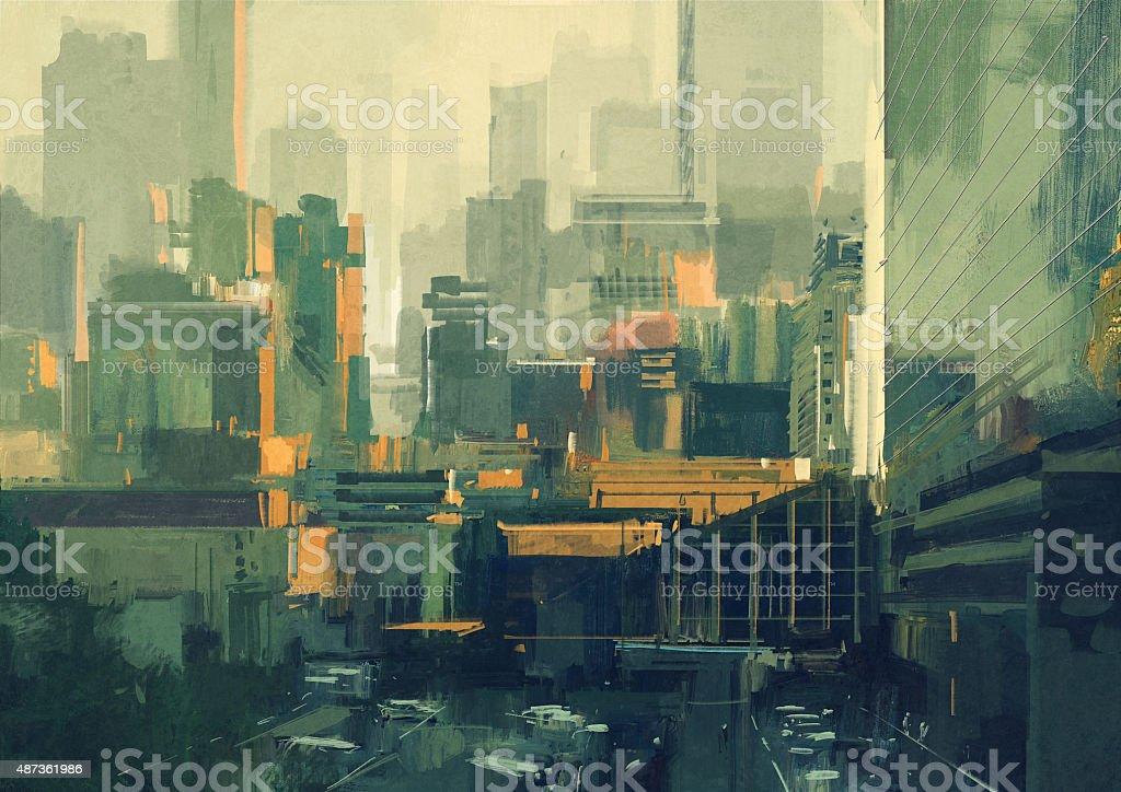 urban sky-scrapers at sunset vector art illustration
