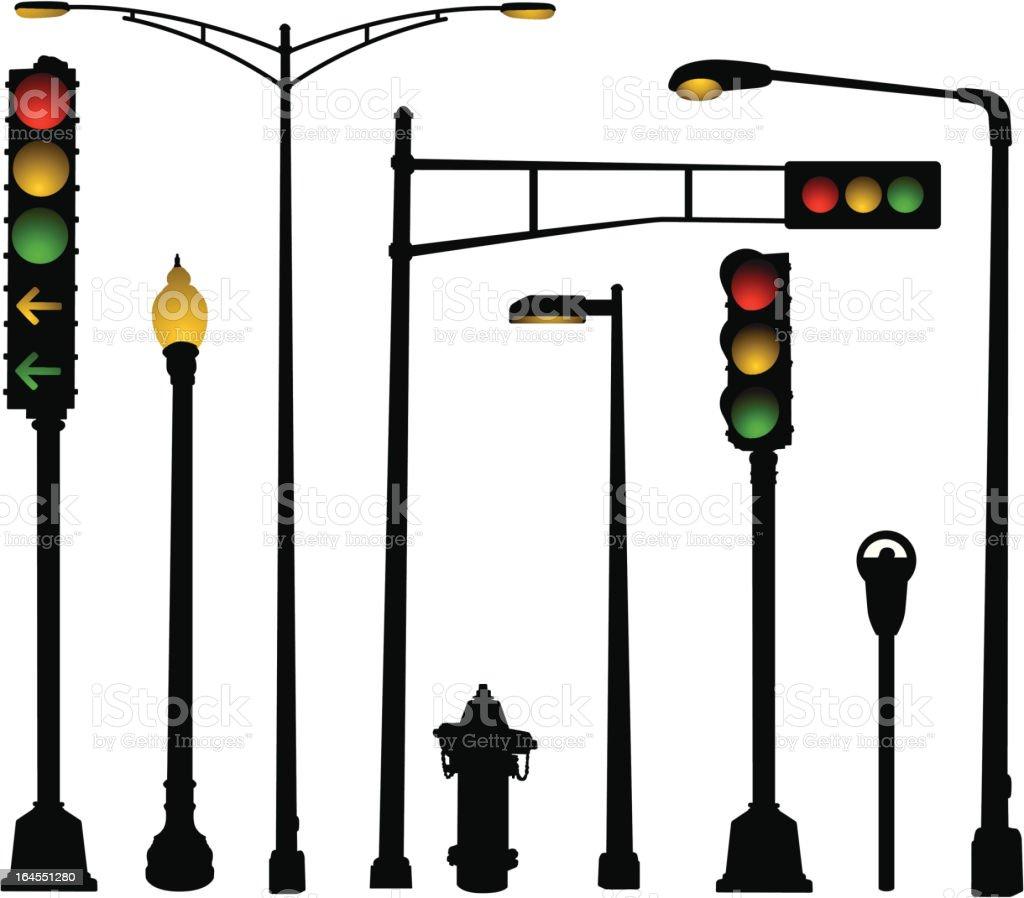 Urban Street Elements vector art illustration