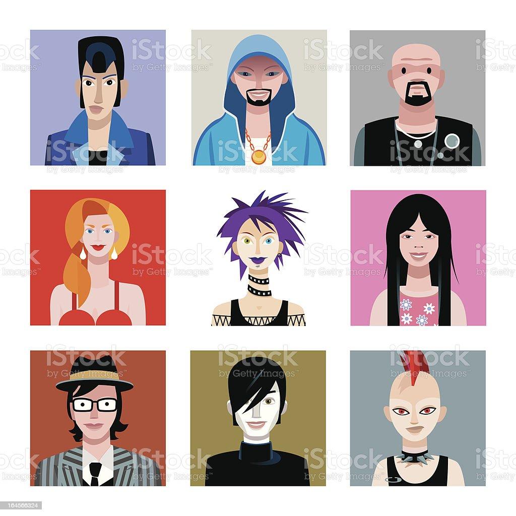 Urban Tribes Avatars Set vector art illustration