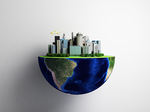 Urbanization concept with globe and city