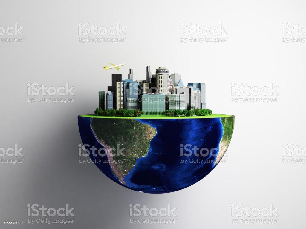 Urbanization concept with globe and city vector art illustration