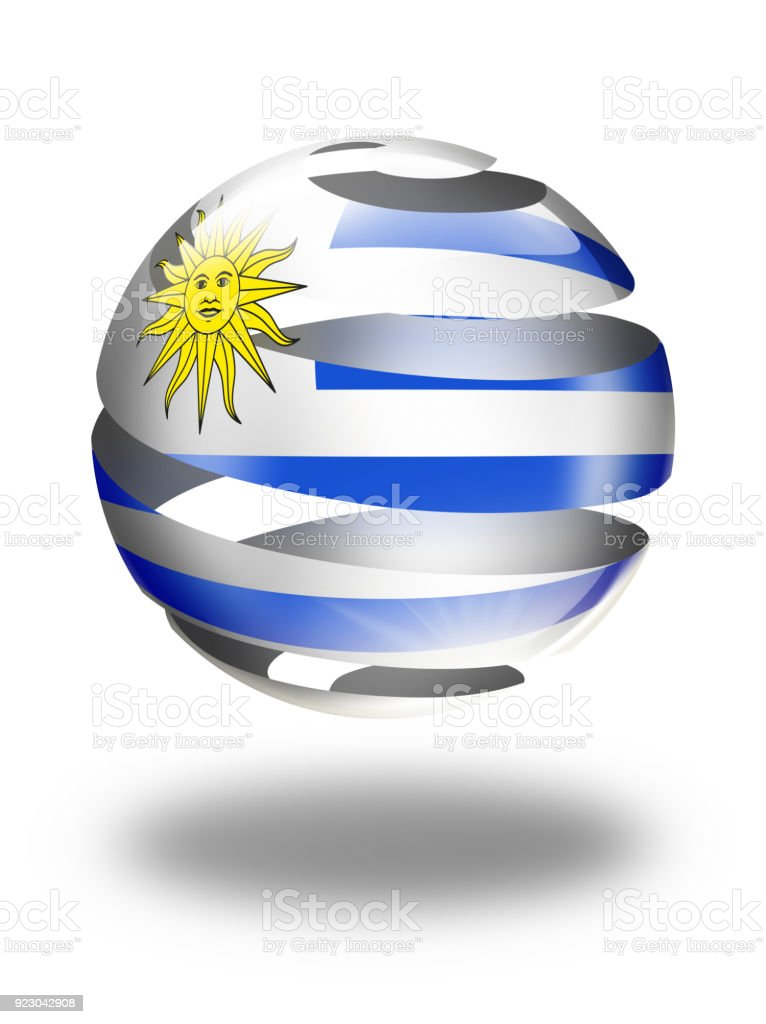 Esfera de botón de Uruguay con la bandera de uruguayos aislado en blanco - ilustración de arte vectorial