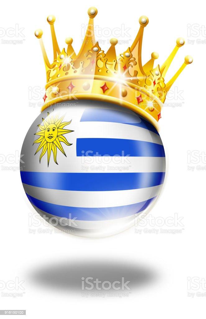 Botón de Uruguay con bandera y ganador corona aislado en blanco - ilustración de arte vectorial