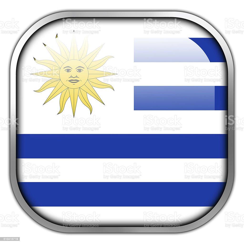 Botón brillante bandera de Uruguay cuadrado - ilustración de arte vectorial