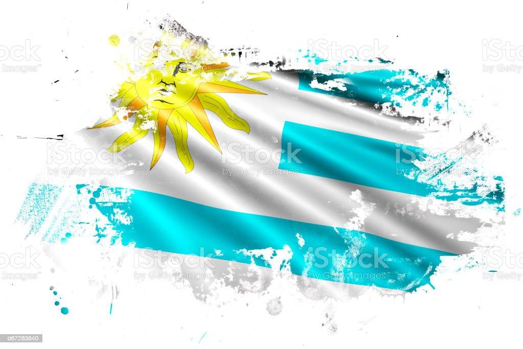 Uruguay Ink Grunge Flag - ilustración de arte vectorial