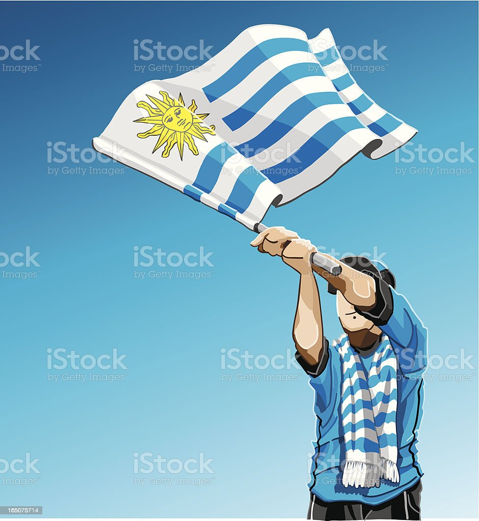 Agitando bandera de fútbol de Uruguay - ilustración de arte vectorial
