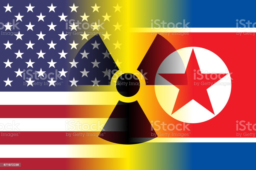 usa and north korea flags, nuclear sign vector art illustration