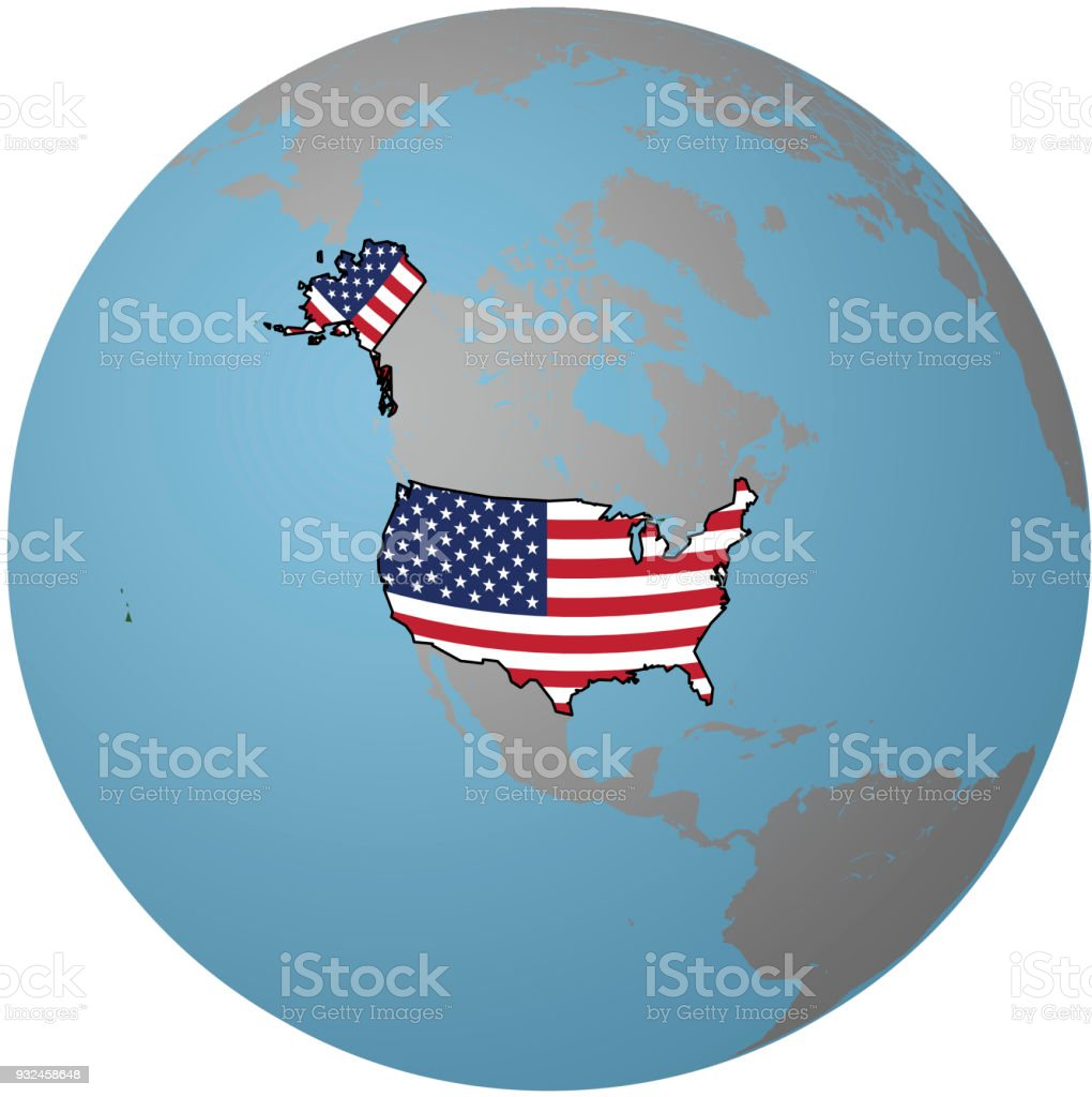 Us Map Globe.Usa Flag On Map Of Earth Globe Stock Vector Art More Images Of
