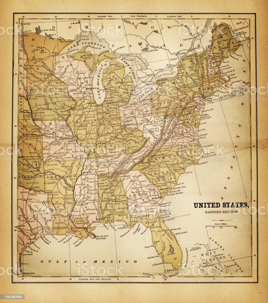 Map Of Florida And Alabama.Usa Map 1884 Stock Vector Art More Images Of Alabama 155280583
