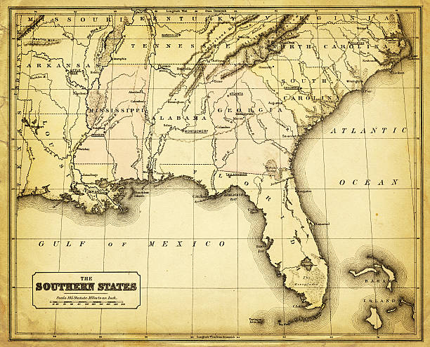 usa - southern states 1876 vector art illustration