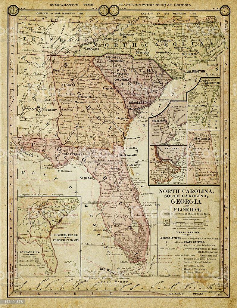usa - southern states 1884 vector art illustration