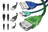 vector collection of various detailed usb connectors and cables