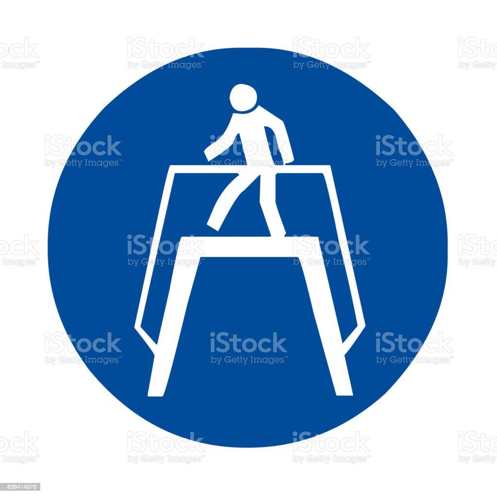 Use footbridge safety sign vector art illustration