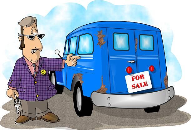 used car salesman - sale stock illustrations