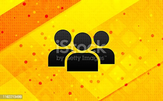 User group icon isolated on abstract digital banner yellow background