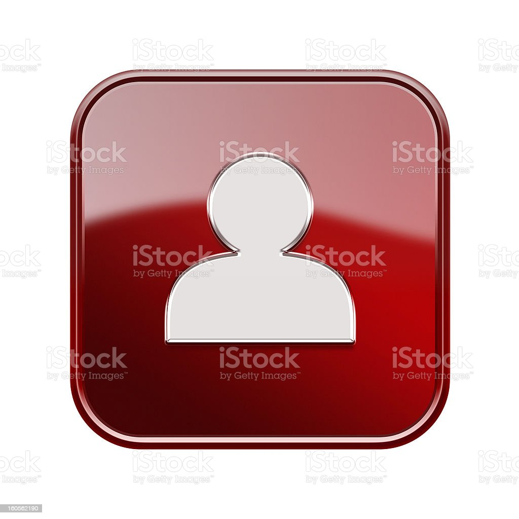 User icon glossy red, isolated on white background royalty-free stock vector art