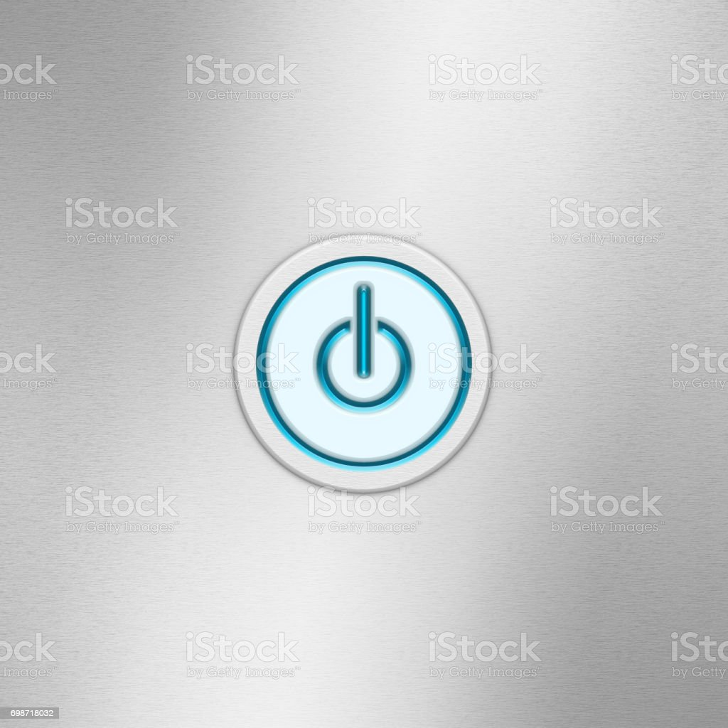 User Interface Switch Button Power Button On A Brushed Aluminum ...