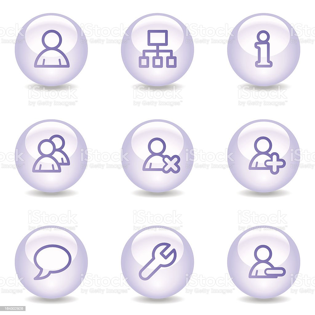 Users web icons, glossy pearl series royalty-free stock vector art