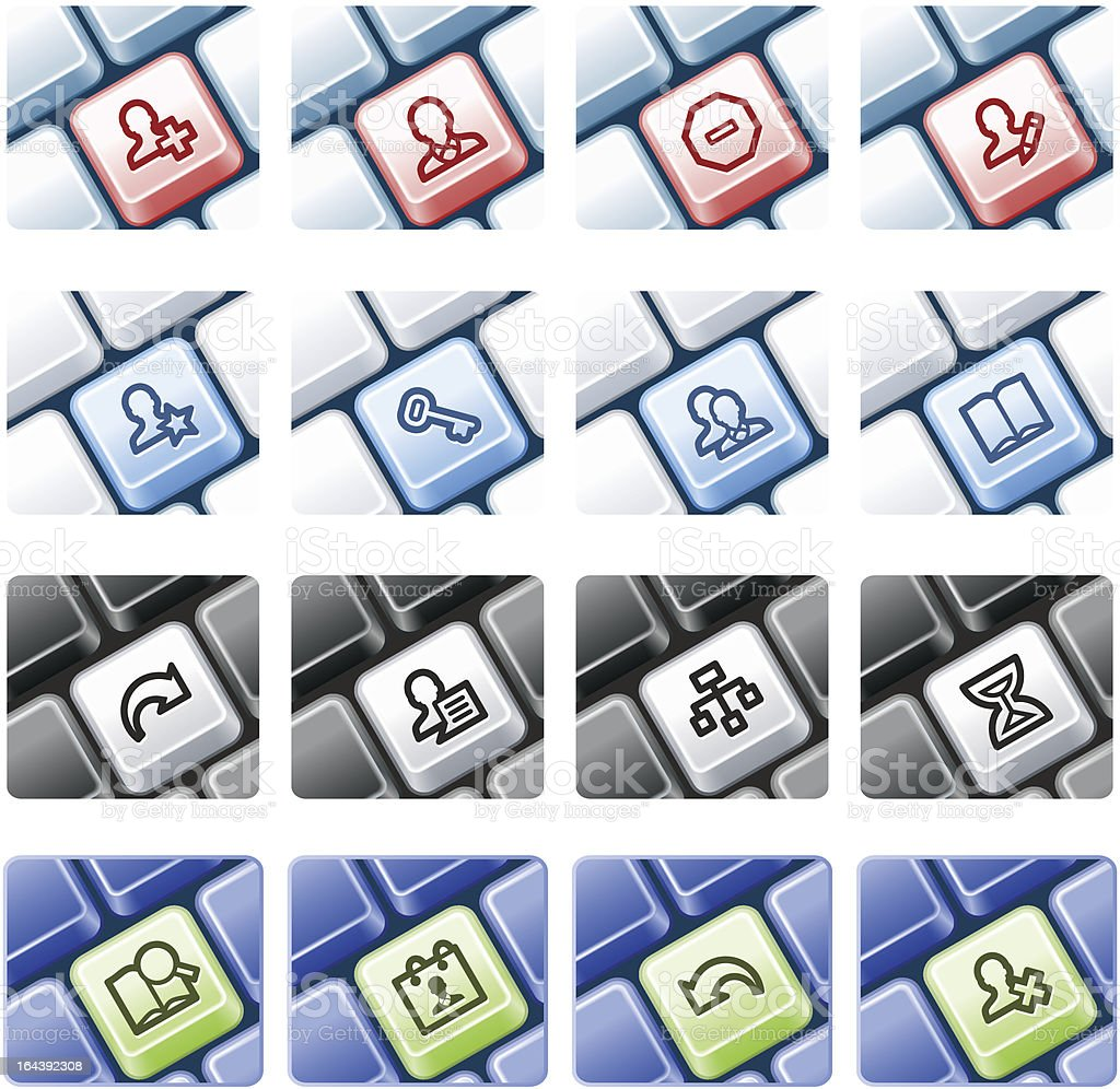 Users web icons on computer keyboard. royalty-free stock vector art