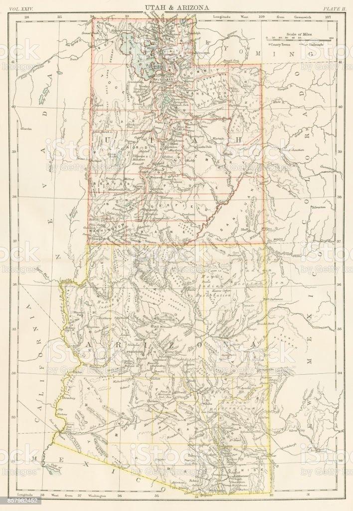 Utah Arizona Map 1885 Stock Vector Art & More Images of Antique ...