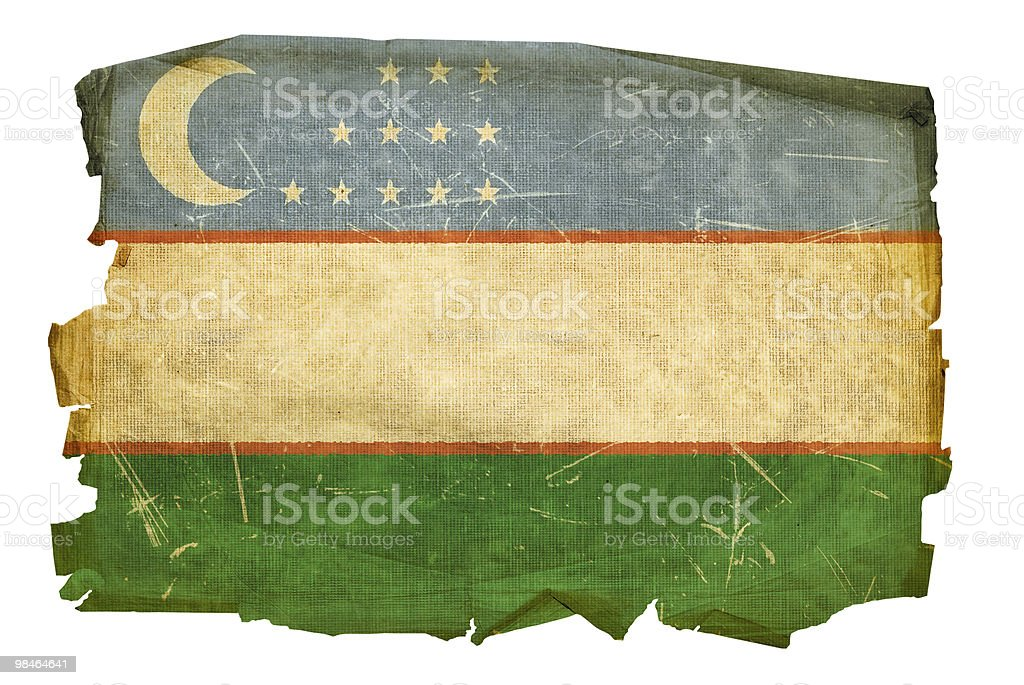 Uzbekistan Flag old, isolated on white background. royalty-free uzbekistan flag old isolated on white background stock vector art & more images of aging process
