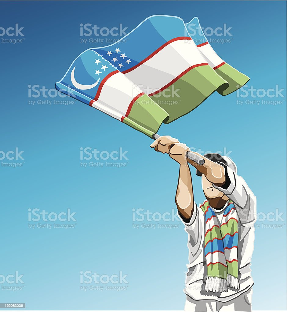 Uzbekistan Waving Flag Soccer Fan vector art illustration