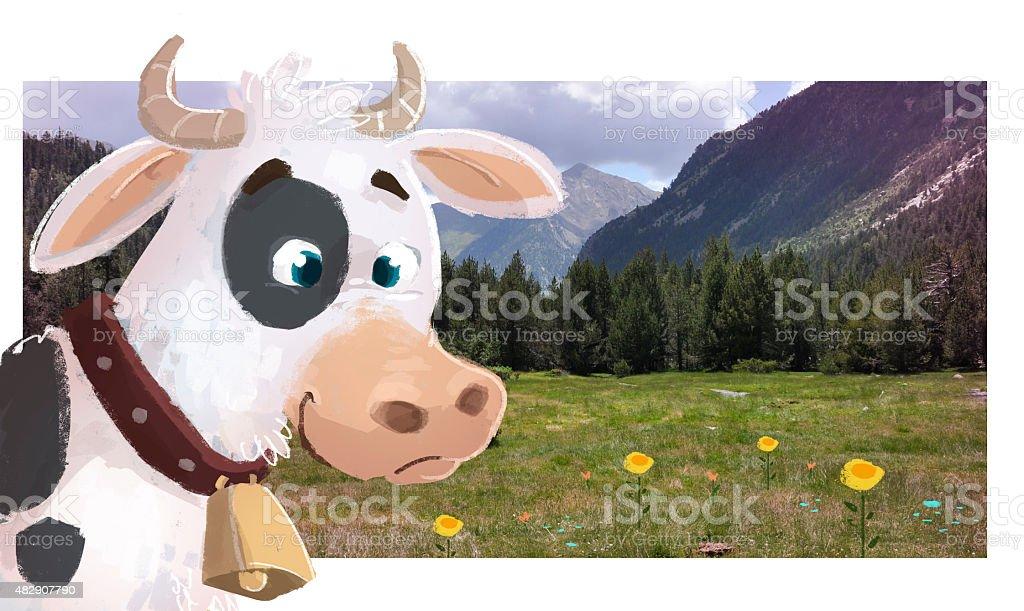 vaca en el prado. - ilustração de arte em vetor