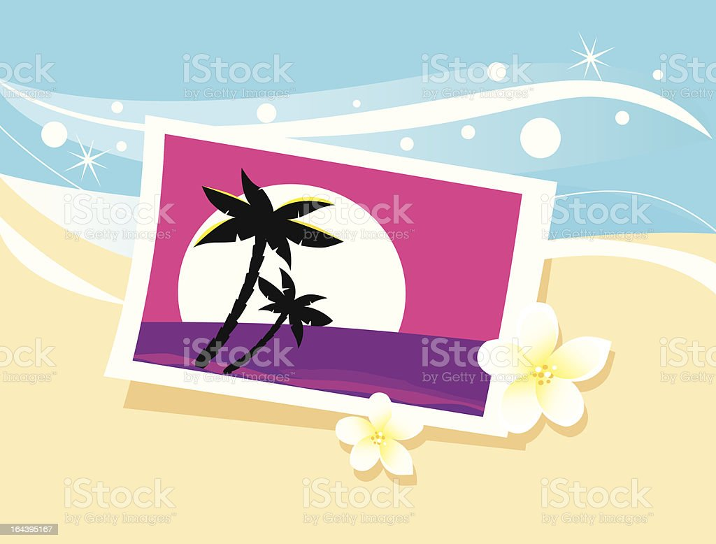 Vacation photo in sand royalty-free stock vector art