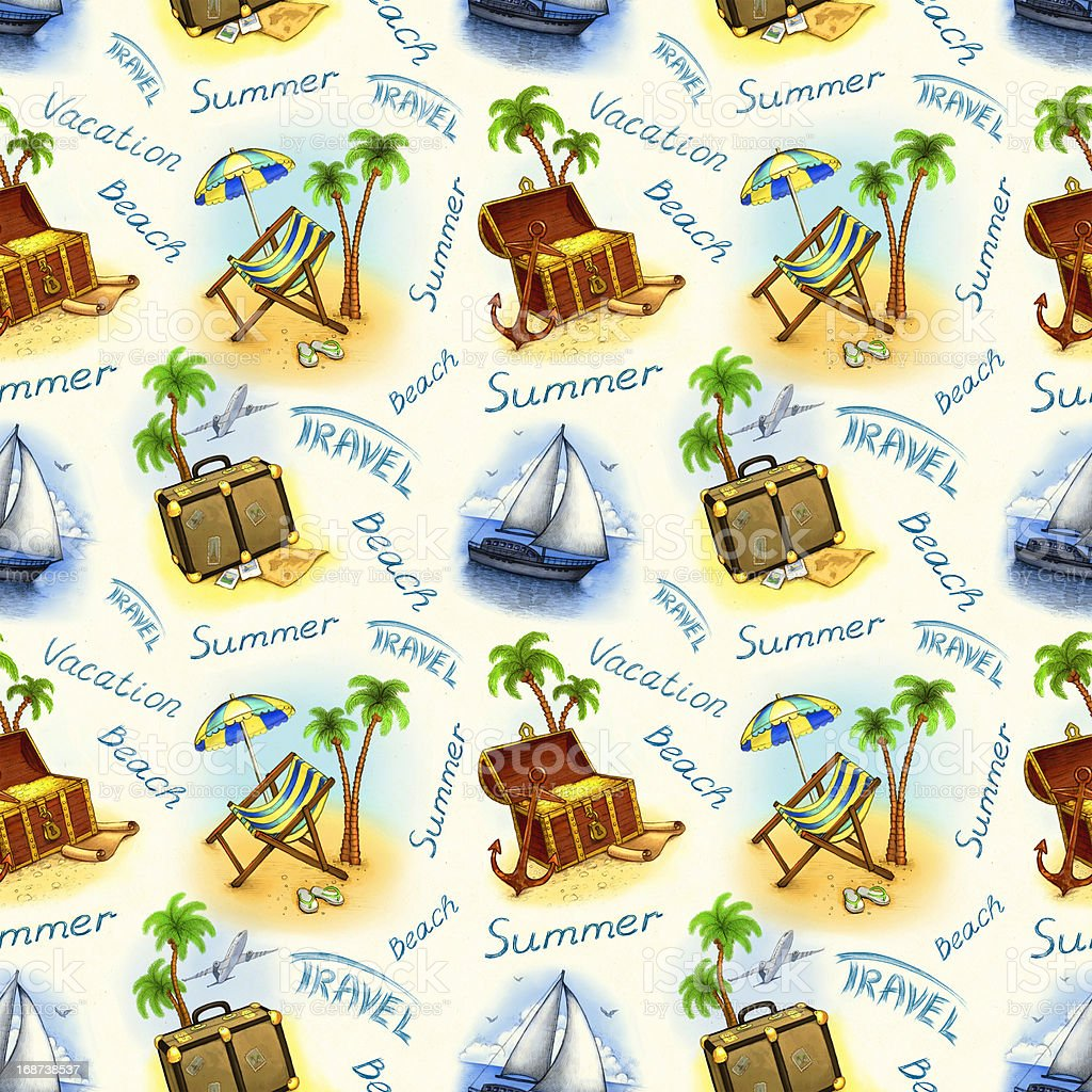 Vacation seamless pattern. Hand draw illustration royalty-free stock vector art