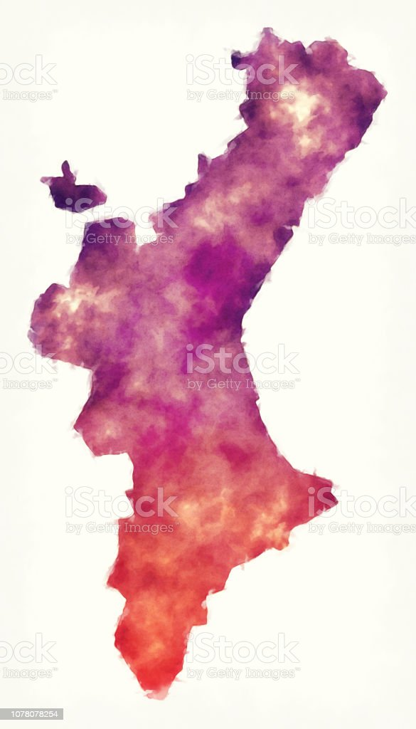 Map Of Spain Valencia Region.Valencian Community Region Watercolor Map Of Spain In Front Of A
