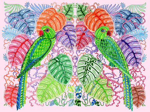 Valentine card with fairy tale parrot birds love couple, ornate monstera leaves.Thin line colour contour doodle painted with watercolors. T-shirt print. Animal wildlife Illustration isolated on pink