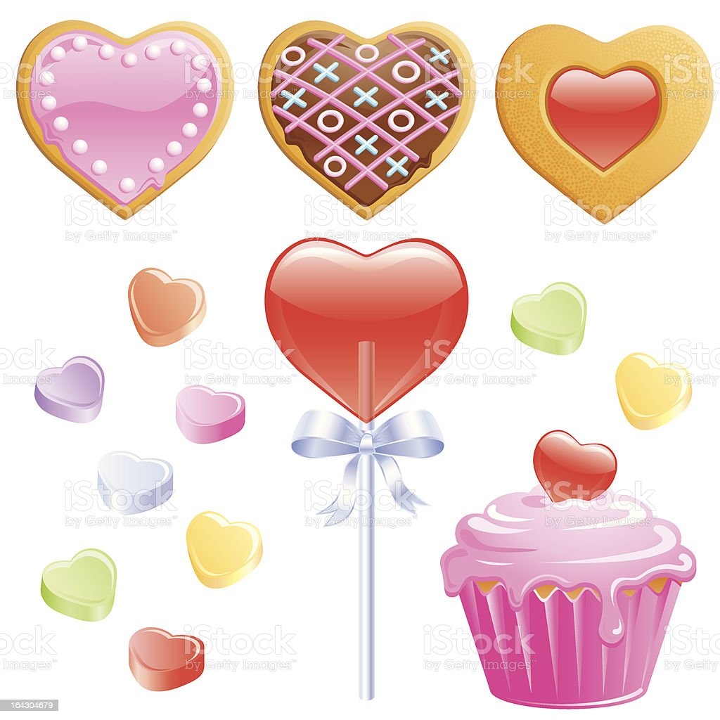 Valentine Cookies, cupcake, lollipop and candy Hearts vector art illustration