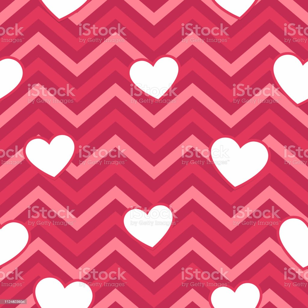Valentine Day Pink Hearts Geometric Seamless Background