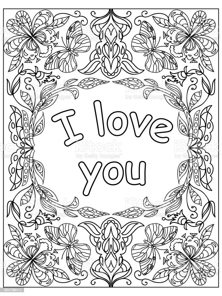 Valentine Ich Liebe Dich Zitieren Erwachsene Malvorlagen Stock ...