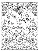 Valentine I love you Quote adult coloring page
