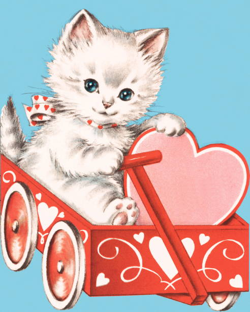 Valentine kitten http://csaimages.com/images/istockprofile/csa_vector_dsp.jpg animal valentine stock illustrations
