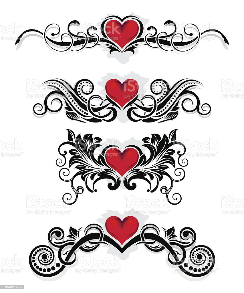 Valentine ornaments royalty-free stock vector art
