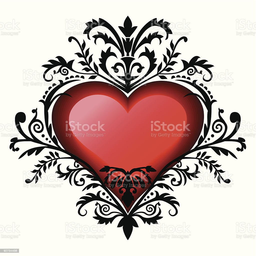 Valentine's day baroque heart vector art illustration