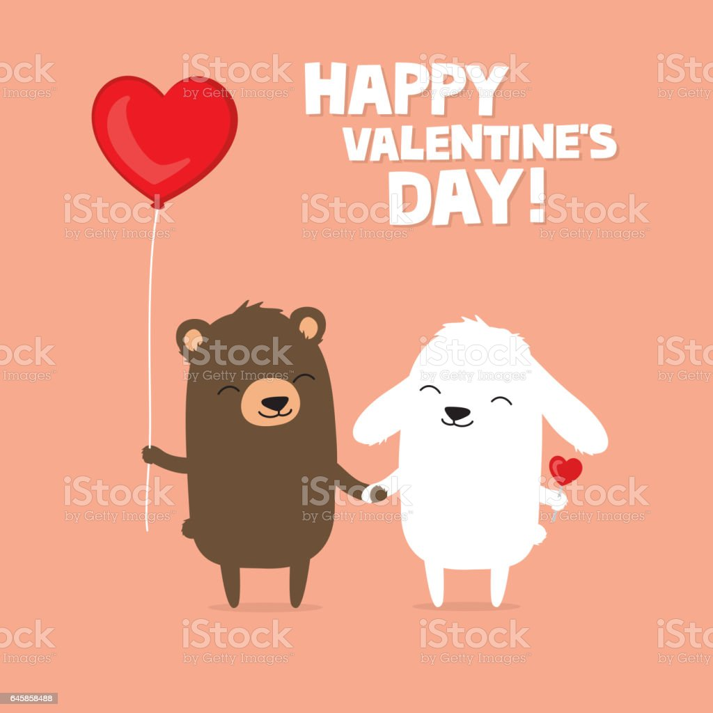 Vetores De Cartão De Dia Dos Namorados Com Coelho Urso E O