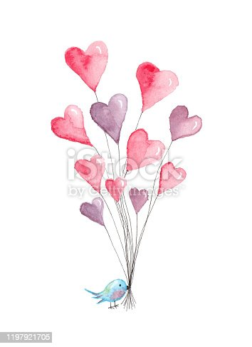 Valentine's Day heart balloons held onto by blue bird. Original watercolor painting.