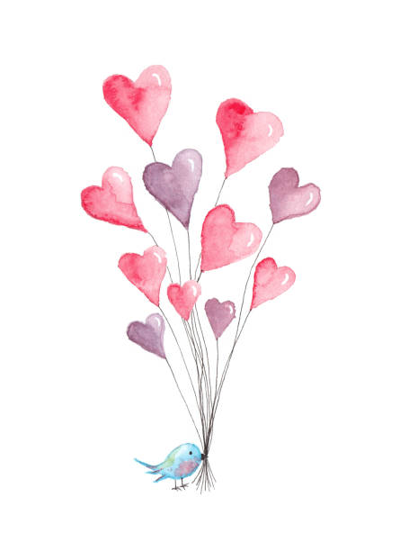 Valentine's Day Heart Balloons with Blue Bird - Original Watercolor Painting vector art illustration