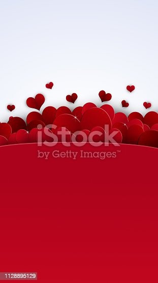 valentines day red lovely hearts white banner