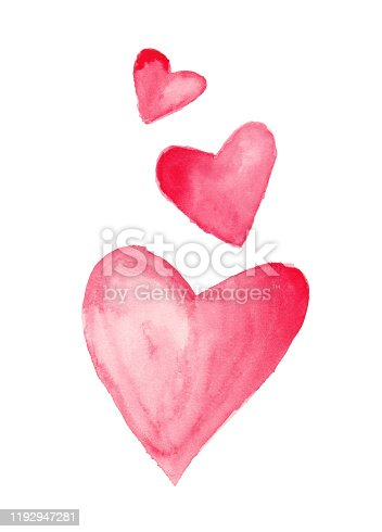 Original watercolor painting. Three Valentine's Day hearts on white background.