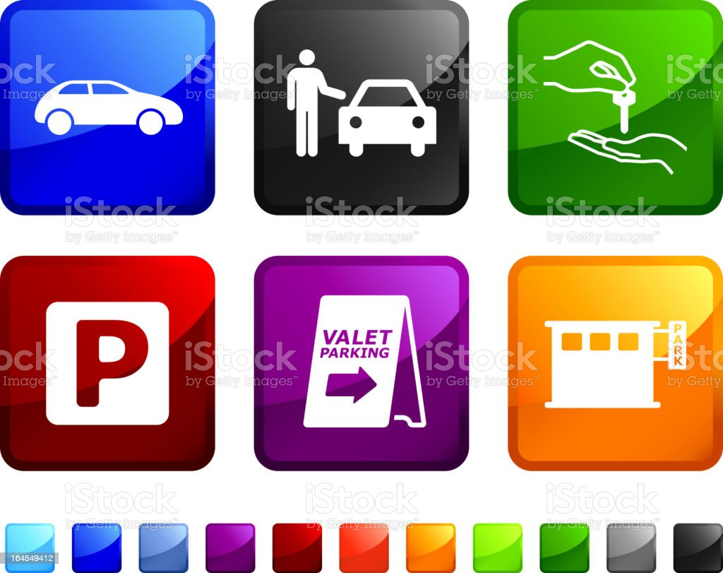 valet parking royalty free vector icon set stickers royalty-free stock vector art