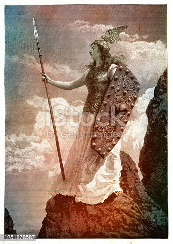 istock Valkyrie from Old Norse mythology standing on hill 1899 1251878587