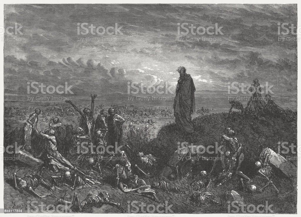 Valley of Dry Bones (Ezekiel 37), wood engraving, published 1886 vector art illustration